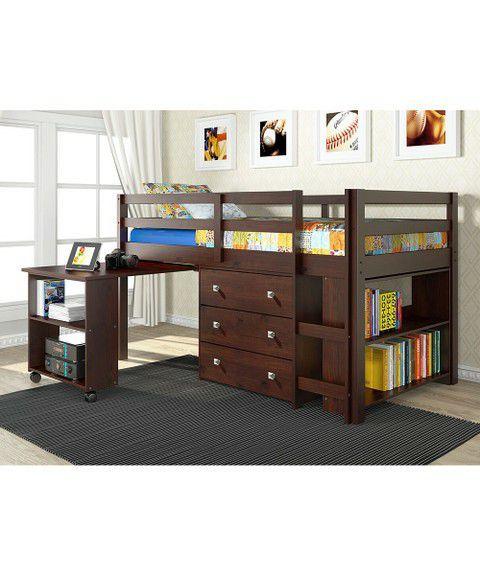 Twin study loft bed