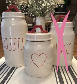 Rae Dunn KISSES and Heart canister for Sale in Gaithersburg, MD