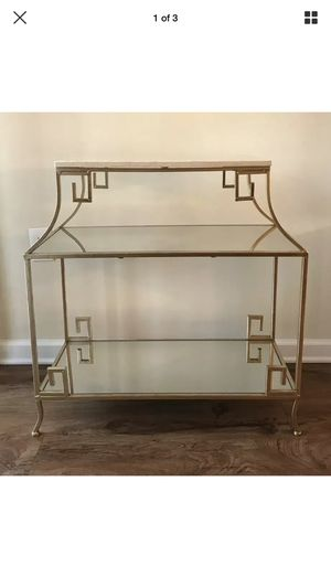 Gold Metal Glass Marble Console Table With Shelves for Sale in Mount Laurel Township, NJ