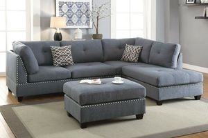Blue grey sofa sectional couch for Sale in Lynwood, CA