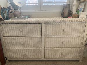white wicker furniture double dresser for Sale in Corona, CA