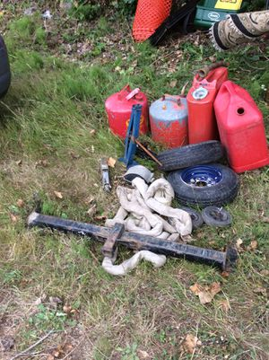 Gas can lot, tow straps, car jacks, trailer tires(2), tow hitch for Sale in Buckley, WA