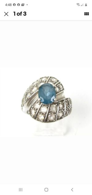 Estate Sterling Silver 1.5ct Blue Topaz & White Topaz Ladies Ring 9.5g,GUARANTEED STERLING SILVER for Sale in Round Rock, TX