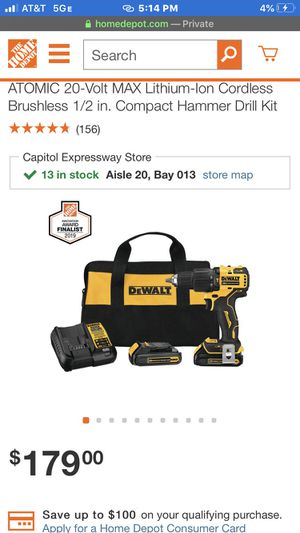 Automatic half inch 13 mm hammer drill driver kit 20 V Max lithium Dewalt for Sale in Oakland, CA