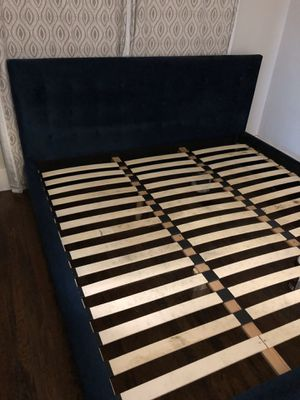 King Bed Frame - Navy Blue Suede for Sale in San Diego, CA