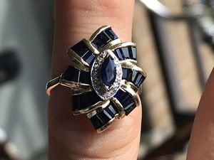 ESTATE Jewelry 14K SOLID Gold Diamond Sapphire Ring for Sale in Columbus, OH