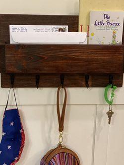 🟤 (RED OAK Color) Wooden Coat Rack Hanger, Wall Floating Shelf, Dog Leash Holder Rustic Farm House Decor for Sale in Hollywood,  FL