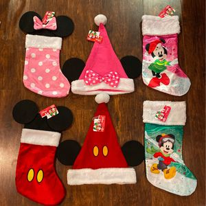Disney's Minnie & Mickey Mouse Christmas Stockings & Santa Hats for Sale in Thousand Palms, CA