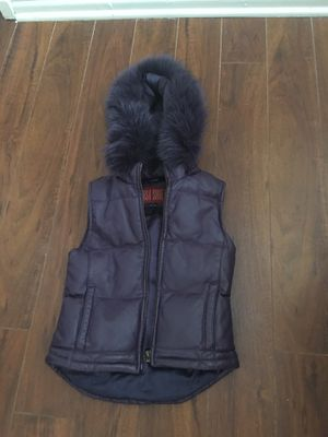 Purple leather fitted vest with removable zipper hood with fur trim for Sale in Los Angeles, CA
