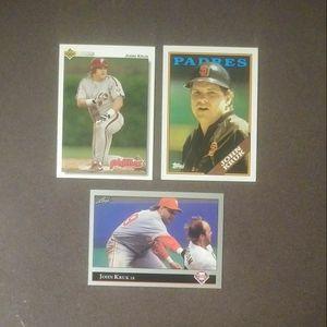 1988 1992 John Kruk Topps Leaf Upper Deck San Diego Padres Philadelphia Phillies #596 #313 #326 Baseball Card Cards Lot Vintage Collectible Sports MLB for Sale in Salem, OH
