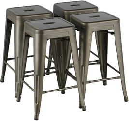 New in box $25 each 16x16x24 Inches Tall Steel Stackable Iron Metal Chair Bar Counter Height Stool Barstool Black White or Gunmetal Color for Sale in Whittier,  CA
