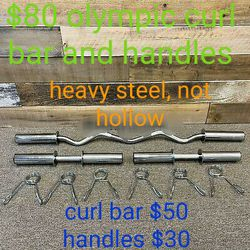 Olympic curl bar, dumbbell handles, new for Sale in Fresno, CA