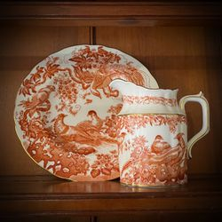 ROYAL CROWN DERBY Pitcher/Plate Original Vintage Antique Made in England/English Fine Bone China/Porcelain Europe/European Rust Color w/ Birds for Sale in San Diego,  CA