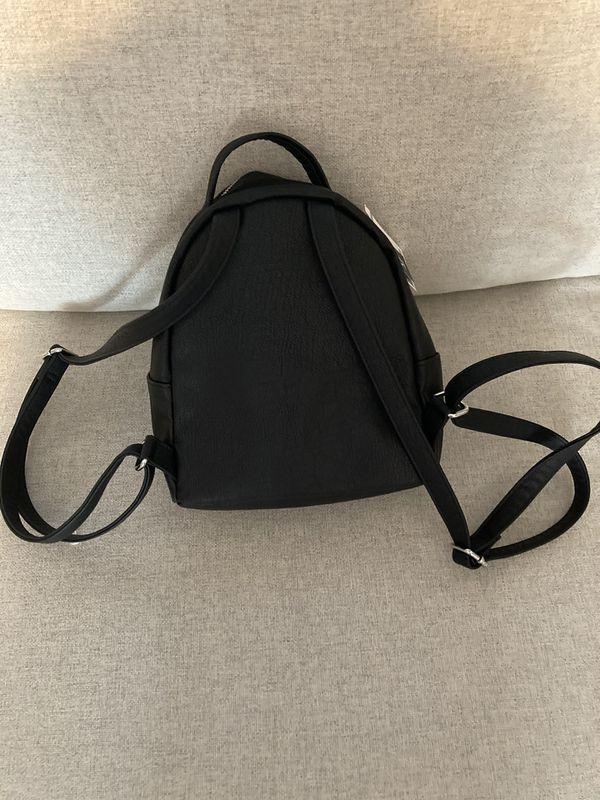 H&M mini black leather backpack