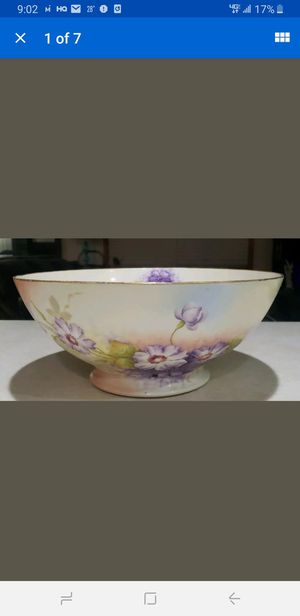 VIENNA AUSTRIA PURPLE FLOWERS SIGNED TAUSCHE MASSIVE BOWL 14.5X6.25 1880-1890s for Sale in Milford, CT