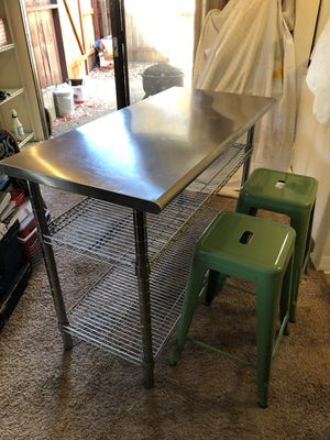 Metro Stainless Steel Kitchen Island and Stools for Sale in Pleasant Hill, CA