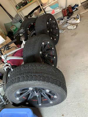 Ballistic red and black rims 20 inch (4 total) for Sale in Mansfield, TX