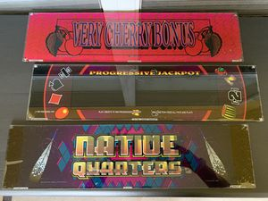 Vintage 1995 Thunderbird Slot Machine Glass Inserts - Very Cherry Bonus, Progressive Jackpot, Native Quarters for Sale in St. Petersburg, FL