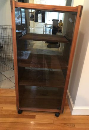 Wooden cabinet with glass door and sliding shelf for Sale in Wellesley, MA