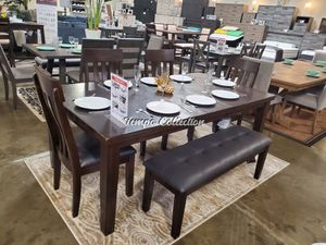 Scarlett 6 PC Dining Set with Extendable Dining Table, Brown, SKU# ASHD596TC for Sale in Santa Fe Springs, CA