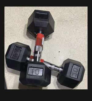 Weider 10 LB Dumbbell Pair Rubber Coated Hex Dumbbells Weights Set of 2 for Sale in Miramar, FL