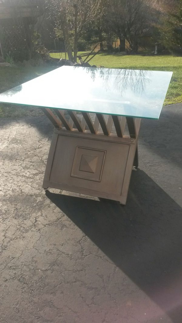 Gorgeous solid metal and glass coffee table