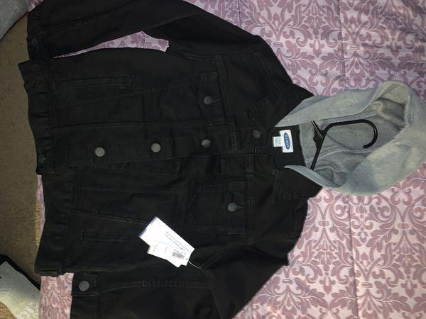 Kids old navy black jean jacket with built in grey hoodie