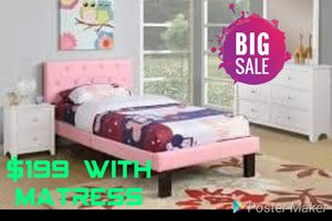 Twin bed with mattress 3 colors choose from for Sale in Las Vegas, NV