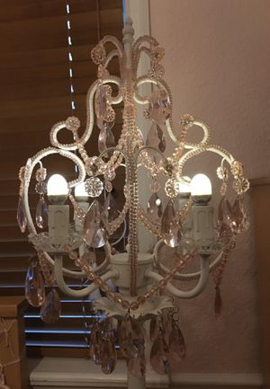 Floor chandelier light pink and white wrought iron for Sale in Miami, FL