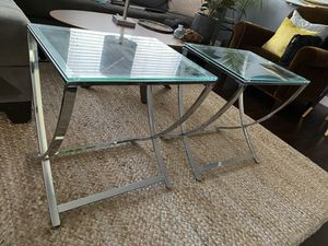 Silver and Glass Nightstands Or End Tables for Sale in Beverly Hills, CA