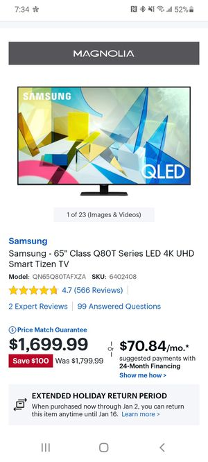 Samsung q80t 65in for Sale in Richardson, TX