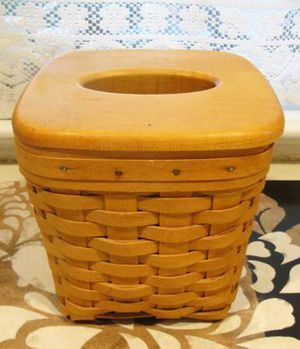 "Longaberger Basket .. Cube Tissue Holder Box .. with Wood Top.. signed and Dated 1997. For cube tissue box .. measures 6.5"" x 6.5"" x 6.5"". Good used for Sale in Burlington, NJ"