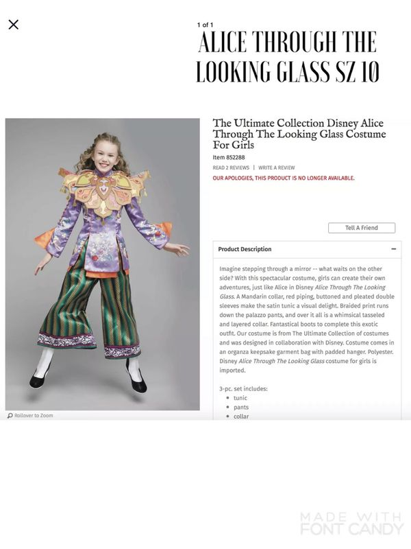 NEW Chasing Fireflies The Ultímate Collection Disney Alice Through the Looking Glass Halloween Costume for Girls SZ 10
