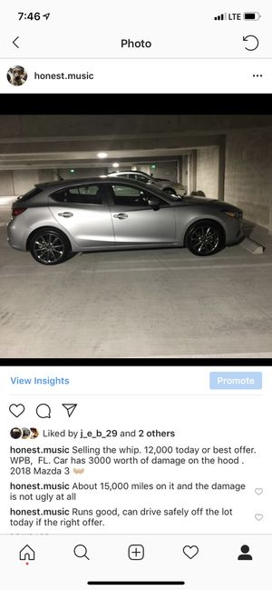 Silver Mazda 3 hatchback. Asking for 14,000, willing to negotiate. Looking for replacement. for Sale in Hallandale Beach, FL