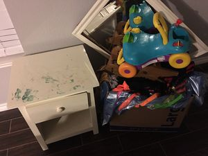 Free kids toys some clothes costumes nightstand for Sale in Corinth, TX