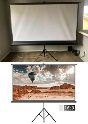 "NEW IN BOX 100"" diagonal 87x48 inches Portable Projector Screen 16:9 ratio with adjustable tripod stand home movie theater conference room Projector for Sale in South El Monte, CA"