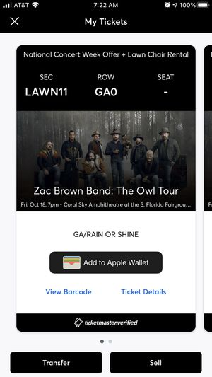 Zac Brown Band Friday night (2 lawn seats) for Sale in Lake Worth, FL