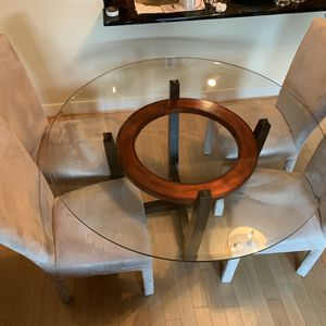Round Glass Top Dining Table set with 4 Dining Chairs for Sale in Washington, DC