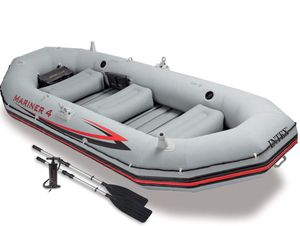 Intex Mariner 4, 4-Person Inflatable Boat Set with Aluminum Oars and Air Pump for Sale in Peachtree Corners, GA