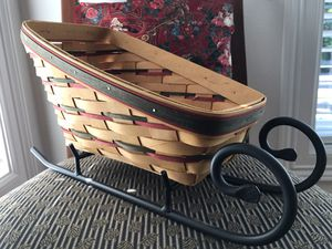 Longaberger Sleigh with Signed Basket and Iron Runners for Sale in Portland, OR