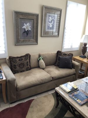 Neutral suede fabric couch in excellent condition. for Sale in Rancho Mirage, CA