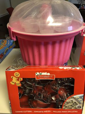 Cupcake holder and cookie cutter for Sale in Centreville, VA