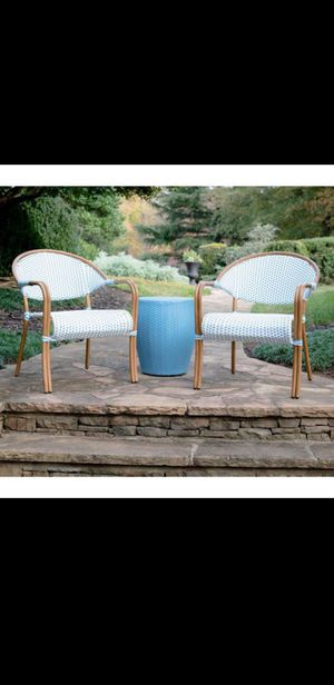 New Leisure Made Monticello 3-Piece Blue and White Wicker Outdoor Bistro Set (Pick up only) for Sale in Glendale, AZ