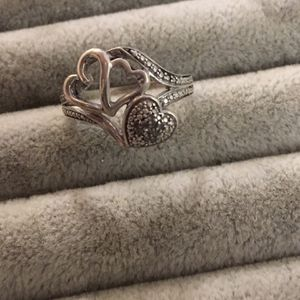 925 Double Heart Diamond Ring for Sale in Glen Burnie, MD