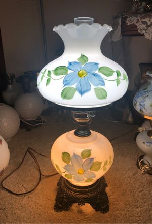 "25.5"" Tall Antique Fenton Milk Glass BlueStar, Leaves Hand-Painted Hedco, GWTW, Hurricane Lamp w/ Ruffled Rim on 4-Brass Footed and Body for Sale in Plainfield, IL"