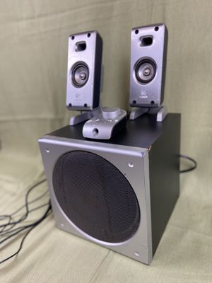 Logitech speaker system with remote subwoofer stainless steel casings for Sale in Minneapolis, MN
