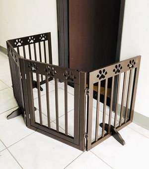 "New in box $70 Wooden 4-Panel Pet Dog Safety Fence Configurable Folding Standing Wood Gate 80""x24"" for Sale in Whittier, CA"