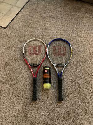 Wilson adult beginner tennis rackets w/ lightly used Titanium balls for Sale in Woodbridge, VA