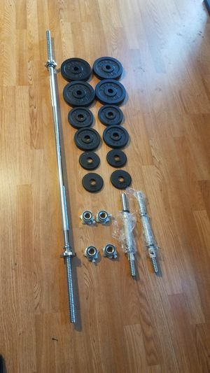 "1x 5 foot standard barbell 1"" 15lbs' 2x adjustable handles with spin locks and 47lbs weight set for Sale in Montebello, CA"