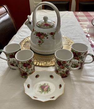 """Royal Albert 1962 Old Country Rose whistling tea kettle, on a marble hot plate set inside a gold colored 14"""" metal tray. Four tea cups, and one for Sale in Mesa, AZ"""